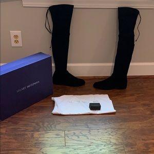 "Stuart Weitzman ""Lowland"" black suede boots size 7"
